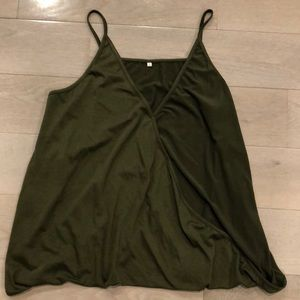 Tops - Olive green surplice cami with spaghetti straps. L